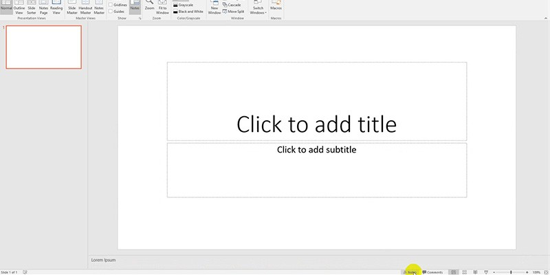 PowerPoint 2013 Tutorial: Notes area