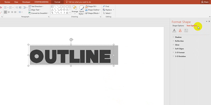 text outline in powerpoint