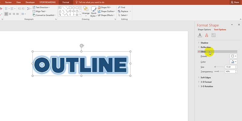 Outline Text Fonts in PowerPoint 2013 Tips:  Glow