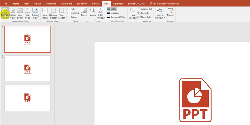 rehearse timings in PowerPoint 2013: Normal View