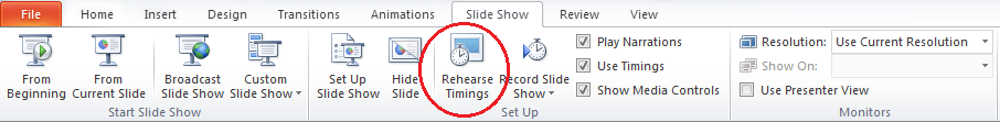 powerpoint 2013 loop rehearse timing