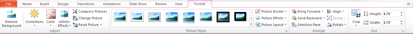 The Pictures Tool Format tab